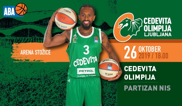 Tickets for KK Cedevita Olimpija : KK Partizan NIS, 26.10.2019 on the 18:00 at Dvorana Stožice, Ljubljana